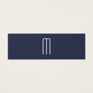 Modern Minimalist Monogram Blue Mini Business Card