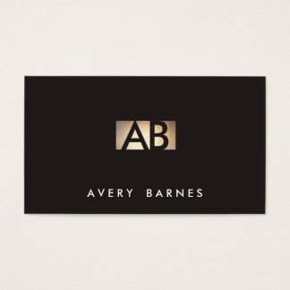 Modern Minimalist Monogram Gold and Black Business Card