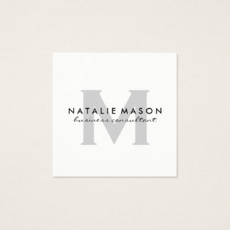 Modern Minimalist Monogram Gray on White Square Business Card