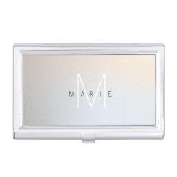Modern Minimalist Monogram Luminous Silver Business Card Holder