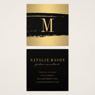 Modern Minimalist Monogram on Black/Gold Brushed Square Business Card