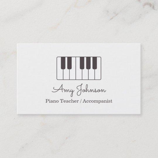 Modern Minimalist Music Piano Teacher Business Card