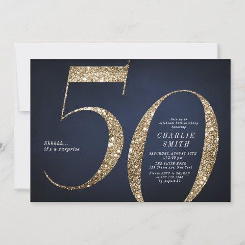 Modern minimalist navy gold glitter 50th birthday invitation