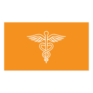 Modern minimalist orange medical doctor caduceus business card
