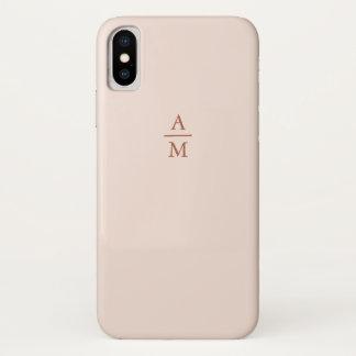 Modern Minimalist Pastel Pink and Copper Monogram iPhone X Case