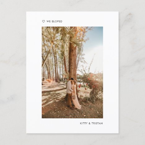 Modern Minimalist Photo Just Married Elopement Announcement Postcard