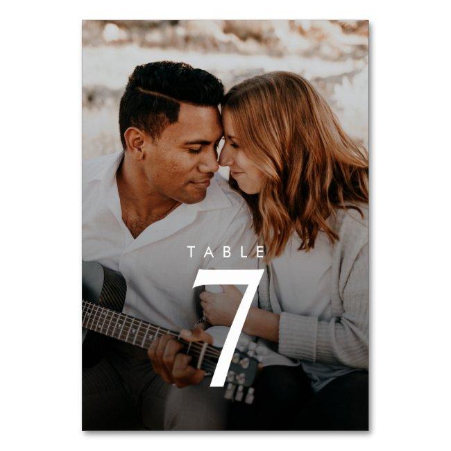 Modern Minimalist Photo Wedding Table Number