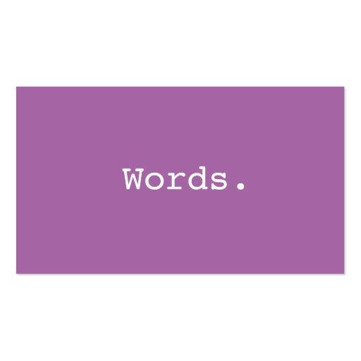 Modern minimalist purple writer publisher editor business cards