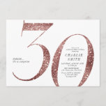 """Modern minimalist rose gold glitter 30th birthday invitation<br><div class=""""desc"""">Modern minimalist 30th birthday party invitation features stylish faux rose gold glitter number 30 and your party details in classic serif font and charcoal color,   simple and elegant,  great surprise adult milestone birthday invitation.   the background color can be changed to any color of your choice.</div>"""