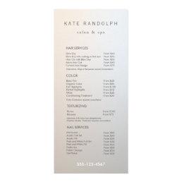 Modern Minimalist Salon Price List Service Menu