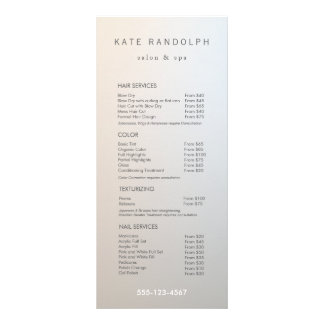 Modern Minimalist Salon Price List Service Menu