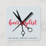 Modern Minimalist Scissors Branding Hair Stylist Square Business Card