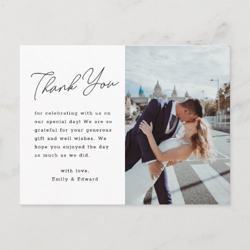 Modern Minimalist Script Wedding Photo Thank You Postcard