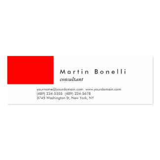 Modern Minimalist Skinny Red White Business Card