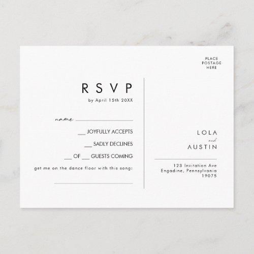 Modern Minimalist Song Request RSVP Card