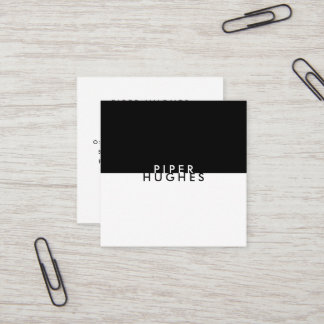 Modern Minimalist Square Business Cards | Black