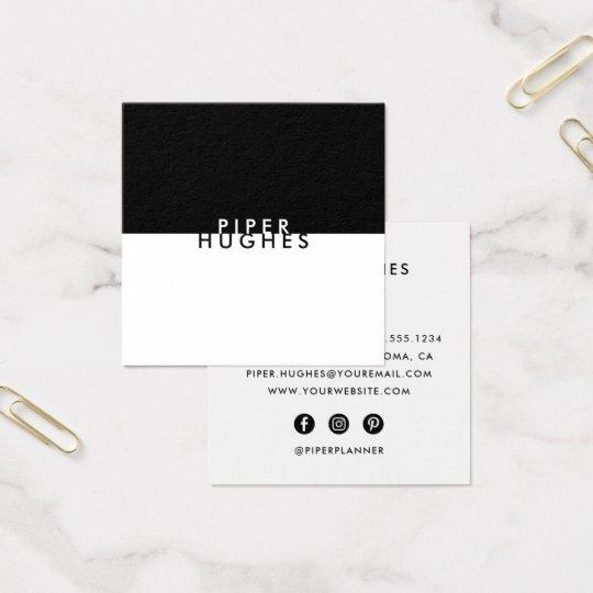 Modern minimalist square business cards black zazzle modern minimalist square business cards black reheart Choice Image