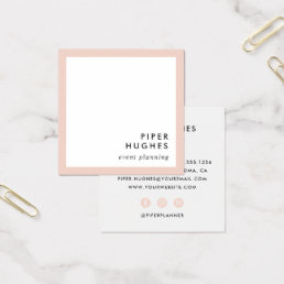 Modern Minimalist Square Business Cards | Blush