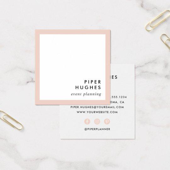 Modern Minimalist Square Business Cards Blush Zazzlecom