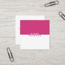 Modern Minimalist Square Business Cards | Magenta