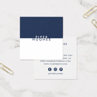 Modern Minimalist Square Business Cards   Navy