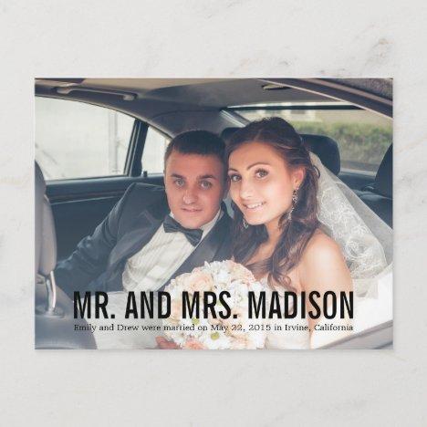 Modern Minimalist Wedding Announcement - Black