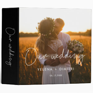 Modern minimalist wedding photo album binder