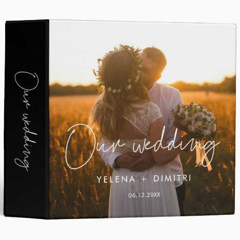 Modern minimalist wedding photo album binder