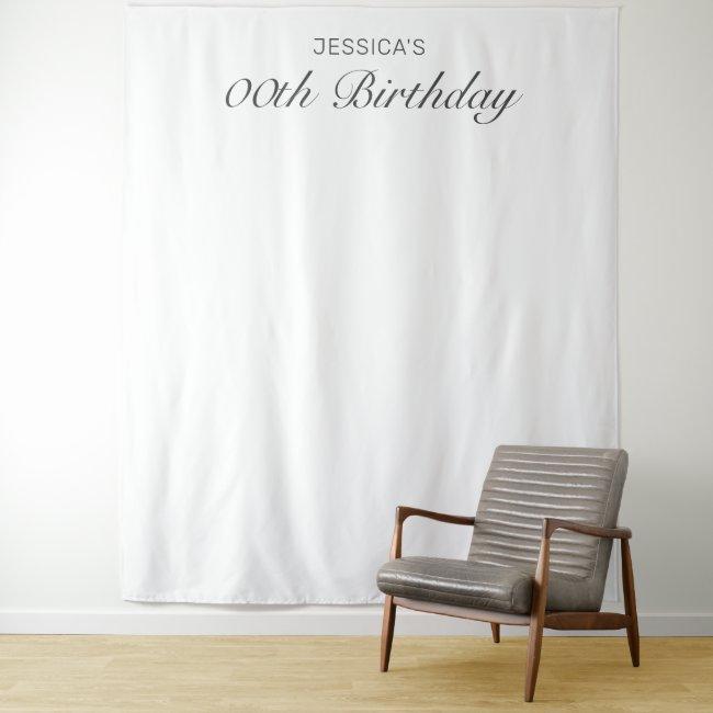 Modern Minimalist White Birthday Photo Background Tapestry