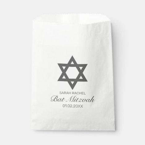 Modern Minimalist White Black Bar Bat Mitzvah Favor Bag