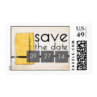 Modern Minimalist Yellow and Gray Save the Date Postage