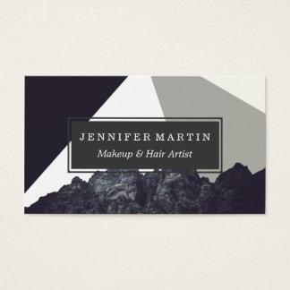Modern Minimalistic Black and White Rock Art Business Card