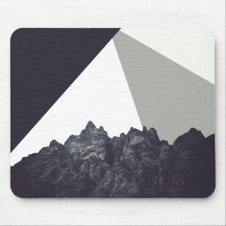 Modern Minimalistic Black and White Rock Art Mouse Pad