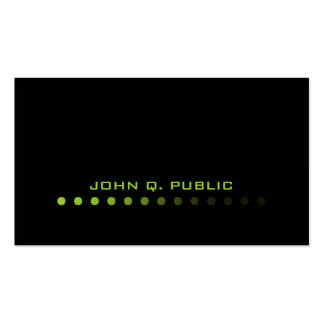 Modern Minimalistic Black/Lime Green Double-Sided Standard Business Cards (Pack Of 100)
