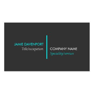 Modern Minimalistic Dark Grey Neon Blue Business Card