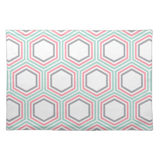 Modern Mint and Coral Geometric Pattern Cloth Placemat
