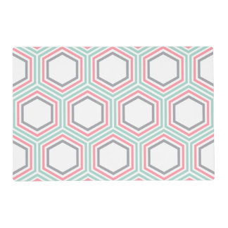 Modern Mint and Coral Geometric Pattern Placemat