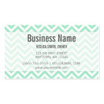 Modern Mint and White Chevron Pattern Double-Sided Standard Business Cards (Pack Of 100)