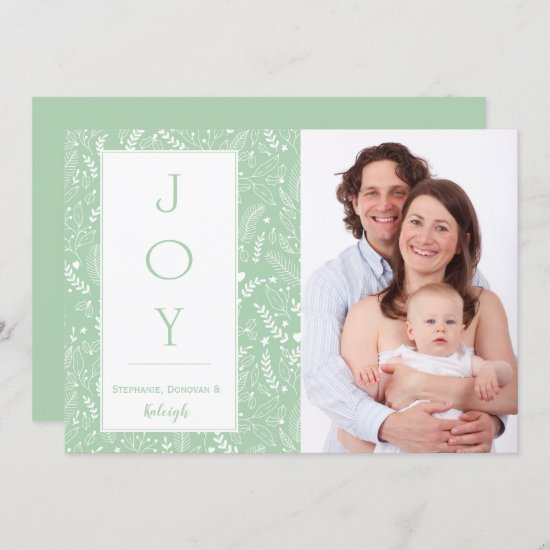 Modern Mint and White Holly Photo Christmas 2 Invitation