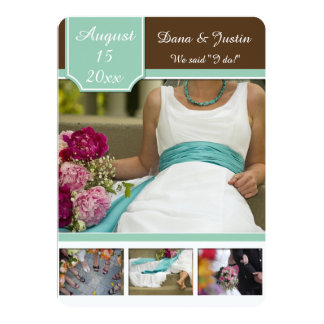 Modern Mint Brown Photo Collage Post Wedding 5x7 Paper Invitation Card