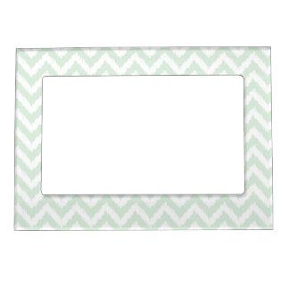 Modern Mint Chevron Ikat Pattern Magnetic Picture Frame