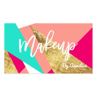Modern mint coral gold triangle color block makeup business card
