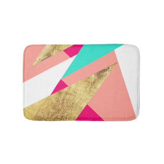 Modern mint coral gold triangles color block bath mat