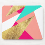 Modern mint coral gold triangles color block mouse pad