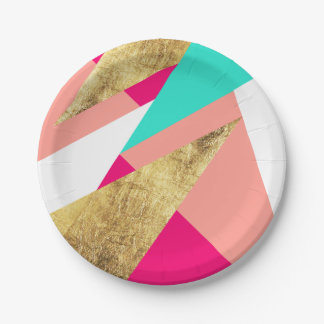 Modern mint coral gold triangles color block paper plate