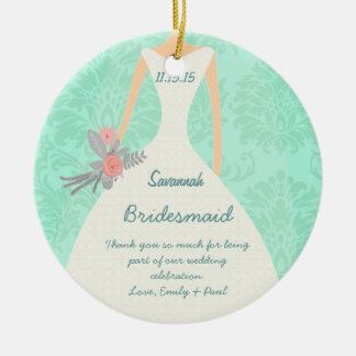 Modern Mint  Damask Wedding Invite Ceramic Ornament