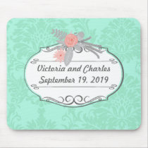 Modern Mint  Damask Wedding Invite Mouse Pad