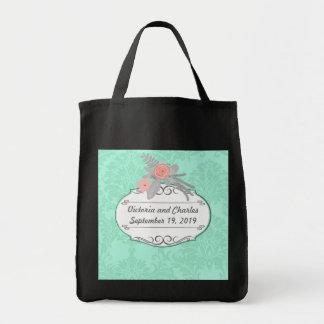 Modern Mint  Damask Wedding Invite Tote Bag