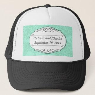 Modern Mint  Damask Wedding Invite Trucker Hat
