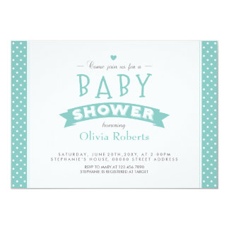 """Modern Mint Dotted Baby Shower Photo Invite 5"""" X 7"""" Invitation Card"""